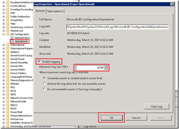 Application and Services Logs / Microsoft / Windows / IIS-Configuration/Operational event log